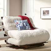 Futon Mattress + Base, Full, Sherpa Ivory Faux Fur
