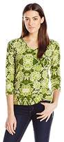 Caribbean Joe Women's Best Selling Three Quarter Sleeve Floral Printed Side Ruched V Neck Top