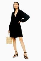 Topshop Black Tie Neck Mini Dress