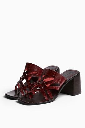 Topshop VICE Burgundy Cut Out Mule Sandals