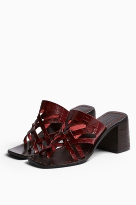 Topshop Womens Vice Burgundy Cut Out Leather Mule Sandals - Burgundy