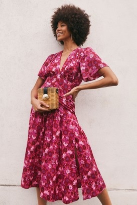 Topshop Womens Tall Willow Pink Floral Print Angel Sleeve Midi Dress - Pink