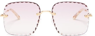 Chloé Rosie Scalloped-square Metal Sunglasses - Pink Gold