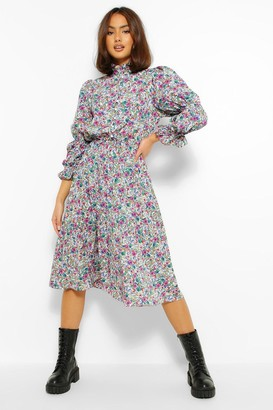 boohoo Floral High Neck Puff Sleeve Skater Dress