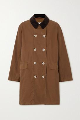 Barbour + Alexachung Maud Corduroy-trimmed Cotton-gabardine Jacket - Brown