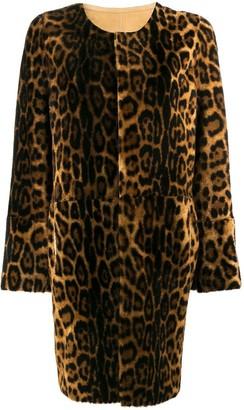 Yves Salomon Leopard Print Shearling Coat