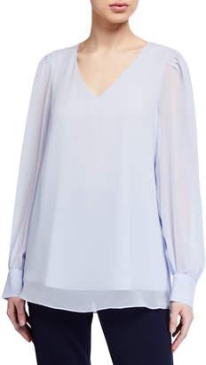 Calvin Klein Pleated Shoulder Long-Sleeve Blouse