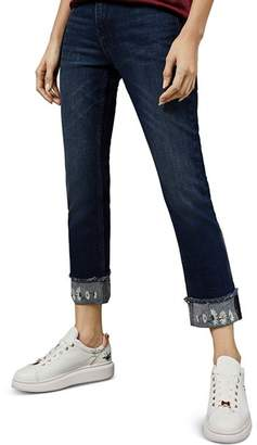 Ted Baker Pralina Embroidered Slim-Fit Jeans in Dark Blue