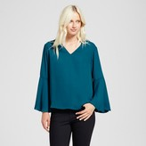 Mossimo Women's V-Neck Bell Sleeve Top Teal