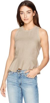 Three Dots Women's Woven Linen Sleeveless Peplum Top