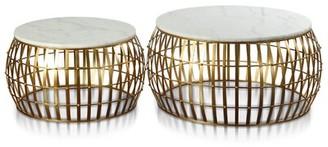 Everly Quinn Tova Drum 2 Piece Coffee Table Set