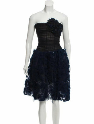Oscar de la Renta Embellished Mini Cocktail Dress Blue