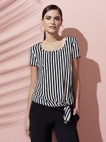 New York & Co. 7th Avenue - Self-Tie Detail Tee - Stripe