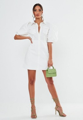 Missguided White Poplin Puff Sleeve Utility Shirt Dress