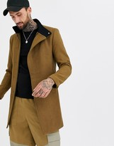 Only & Sons stand up collar concealed closure overcoat in camel