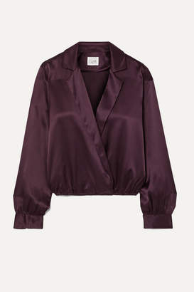 CAMI NYC The Kendall Wrap-effect Silk-charmeuse Blouse - Grape