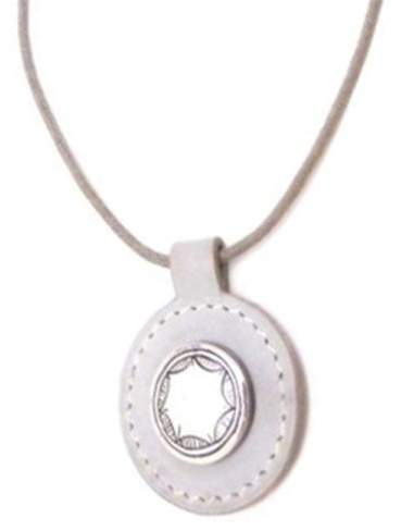 Hermes Light Grey and Silver Metal and leather Necklace