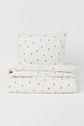 H&M Printed Cotton Duvet Cover Set - White