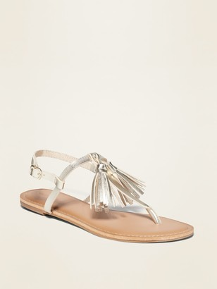 Old Navy Faux-Leather Tassel T-Strap Sandals for Women