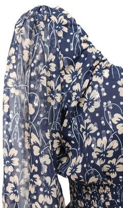 Rixo Helena Silk Crop Top W/ Puff Sleeves