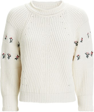 Philosophy di Lorenzo Serafini Floral-Embroidered Knit Sweater
