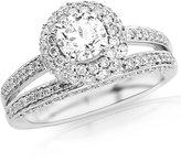 Houston Diamond District 1.5 Carat Platinum Double Row Halo Diamond Engagement Ring with Split Shank with a 0.75 Carat Moissanite Center