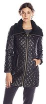 Via Spiga Women's Lightweight Quilted Jacket with Knit Collar