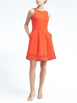 Banana Republic Inset Lace Ponte Fit-and-Flare Dress