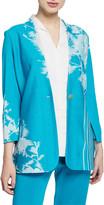 Misook Floral-Print One-Button Long Jacket