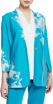 Misook Floral-Print One-Button Long Jacket