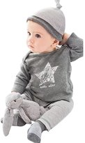 YOUJIA Newborn Baby Long-Sleeved T-shirt + Pants + Hats 3pcs Outfit Set , 80