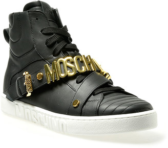 Moschino Men's Leather Logo-Strap High-Top Sneakers