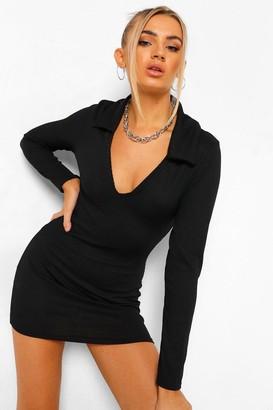 boohoo Recycled Long Sleeve Collared Mini Dress