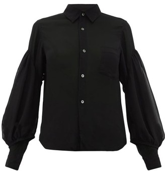 Comme des Garcons Balloon-sleeve Chiffon Blouse - Womens - Black