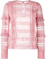 Self-Portrait grid blouse - women - Polyester - 8