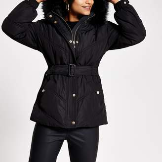 River Island Womens Petite Black faux fur hood belt puffer jacket