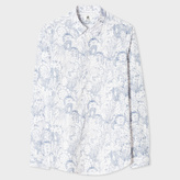 Paul Smith Men's Tailored-Fit Navy And White 'Cactus Sketch' Print Shirt