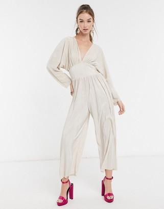 ASOS DESIGN kimono sleeve plisse jumpsuit in cream