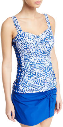 Gottex Diamond Batik D-Cup Ruched Tankini Swim Top