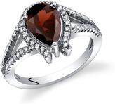 Ice 1 1/2 CT TW Genuine Garnet Sterling Silver Lucky Horseshoe Fashion Ring