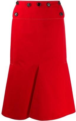 Marni Button Detail Flap Front Cotton Blend Skirt