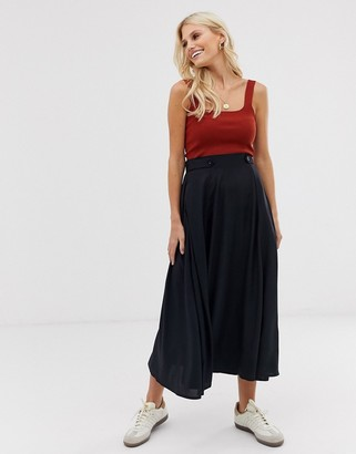 Asos Design DESIGN floaty midi skirt with button waist detail-Black