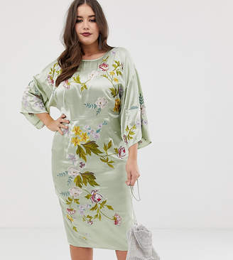 Asos DESIGN Curve kimono midi pencil dress in satin floral embroidery-Green