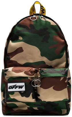 Off-White green camouflage industrial strap backpack