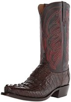 Lucchese Classics Men's Landon-Barrel Bwn Hrnbk Caiman Tail Riding Boot