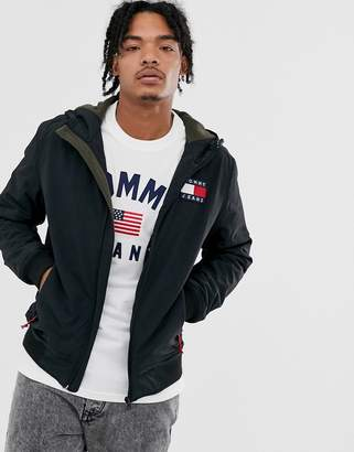 Tommy Jeans padded nylon hooded jacket in black with large flag logo