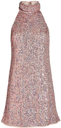 Saylor Aftyn High-Neck Sequin Mini Dress