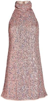 Saylor Aftyn High Neck Sequin Mini Dress