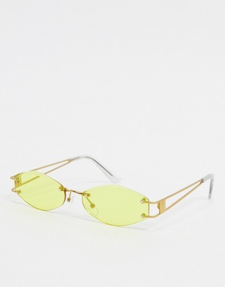ASOS DESIGN rimless oval sunglasses in gold metal with yellow lens