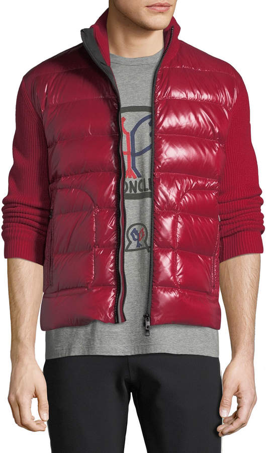 Moncler Men's Zip-Front Down Puffer Sweater